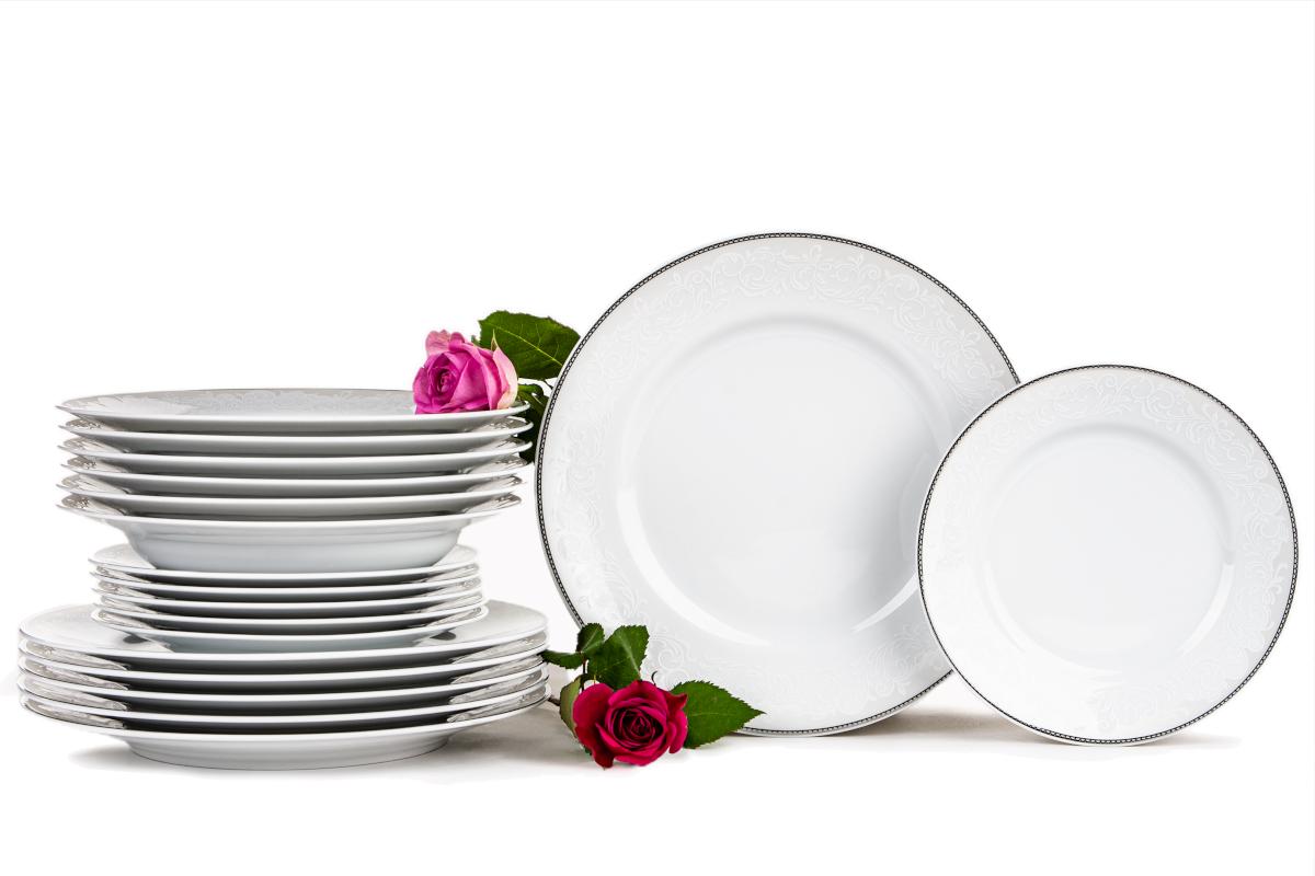 Zestaw obiadowy porcelana 18 elementów biały / srebrny wzór dla 6 os.