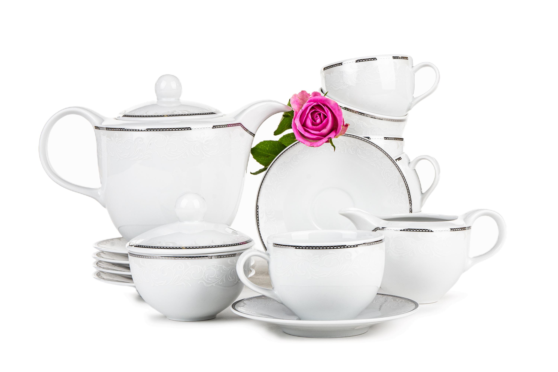 Zestaw kawowy porcelana 15 elementów biały / srebrny wzór dla 6 os.