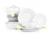 AMELIA SATYNA Zestaw obiadowy porcelana 25 elementów biały / srebrny wzór dla 6 os. Satyna - zdjęcie 1