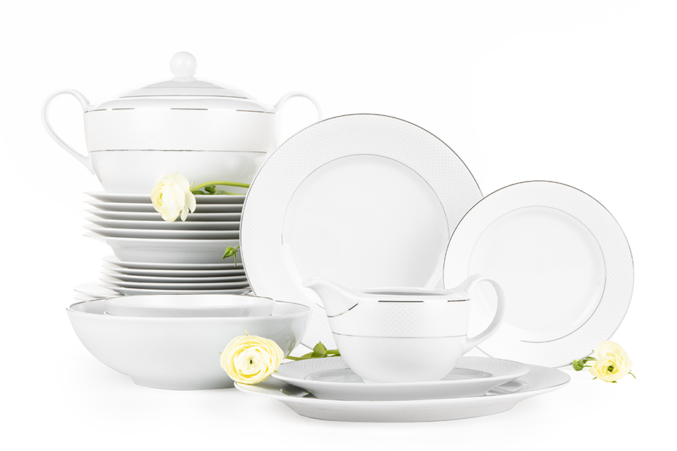 AMELIA SATYNA Zestaw obiadowy porcelana 25 elementów biały / srebrny wzór dla 6 os. Satyna - zdjęcie 0