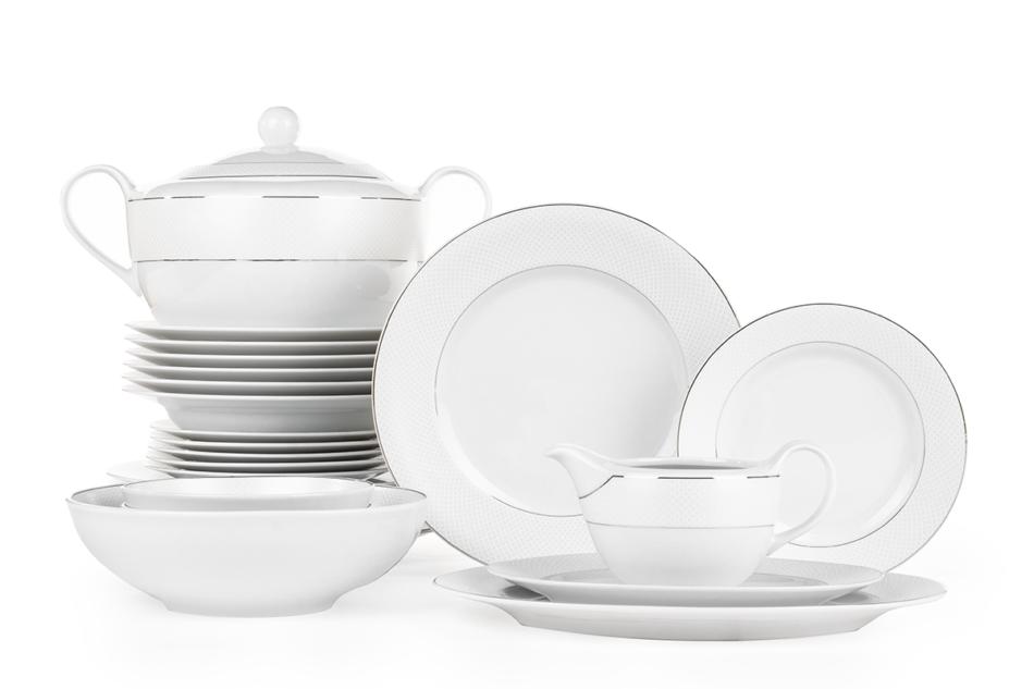AMELIA SATYNA Zestaw obiadowy porcelana 25 elementów biały / srebrny wzór dla 6 os. Satyna - zdjęcie 2