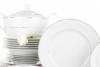 AMELIA SATYNA Zestaw obiadowy porcelana 25 elementów biały / srebrny wzór dla 6 os. Satyna - zdjęcie 7