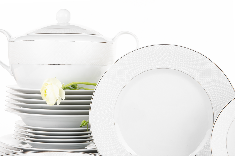 AMELIA SATYNA Zestaw obiadowy porcelana 25 elementów biały / srebrny wzór dla 6 os. Satyna - zdjęcie 6