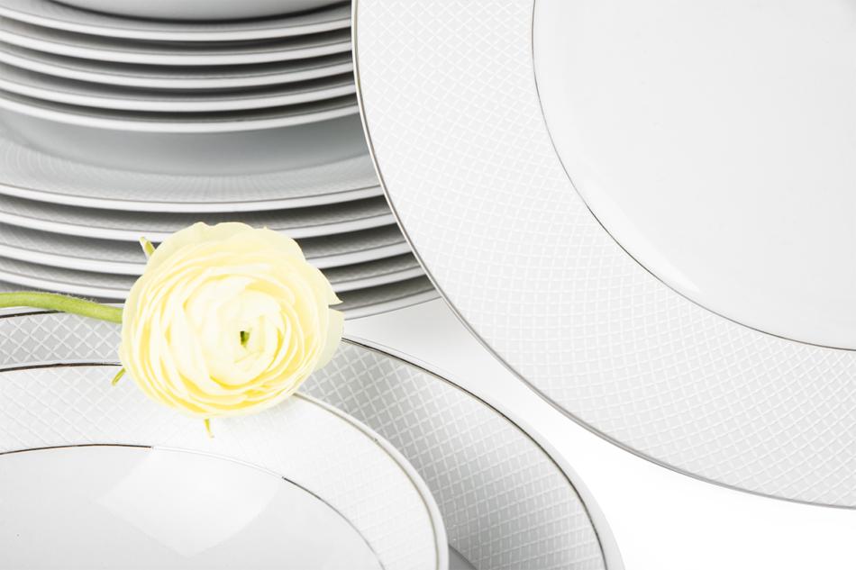 AMELIA SATYNA Zestaw obiadowy porcelana 25 elementów biały / srebrny wzór dla 6 os. Satyna - zdjęcie 4