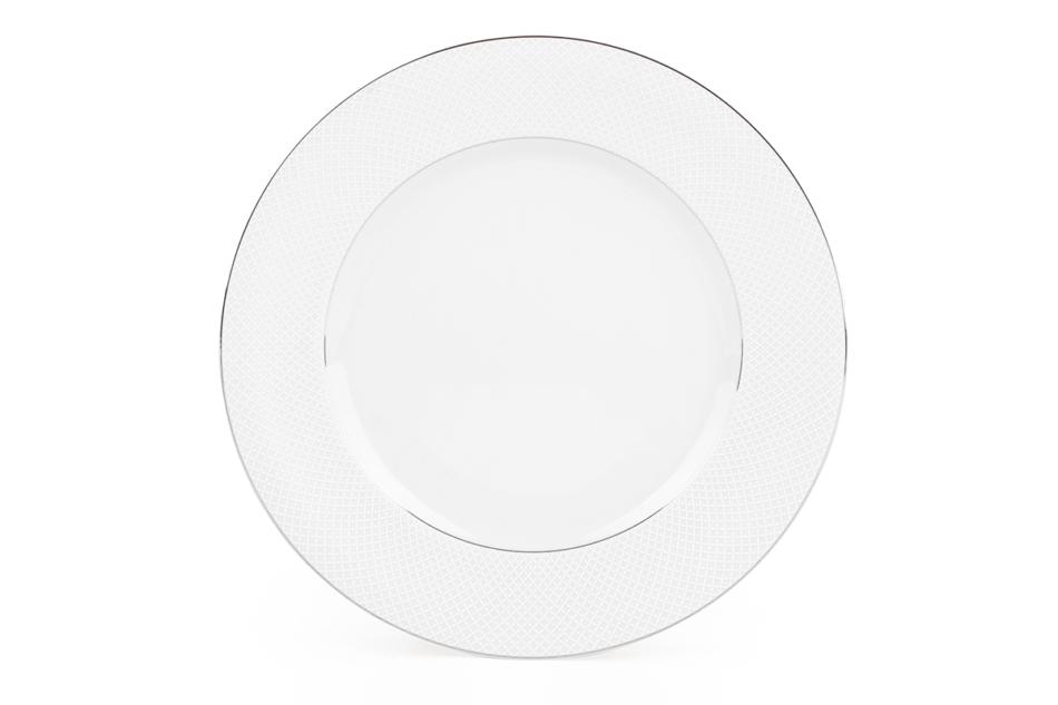 AMELIA SATYNA Zestaw obiadowy porcelana 25 elementów biały / srebrny wzór dla 6 os. Satyna - zdjęcie 8