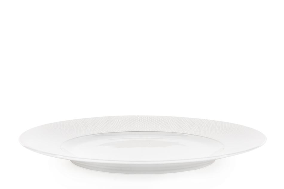 AMELIA SATYNA Zestaw obiadowy porcelana 25 elementów biały / srebrny wzór dla 6 os. Satyna - zdjęcie 9