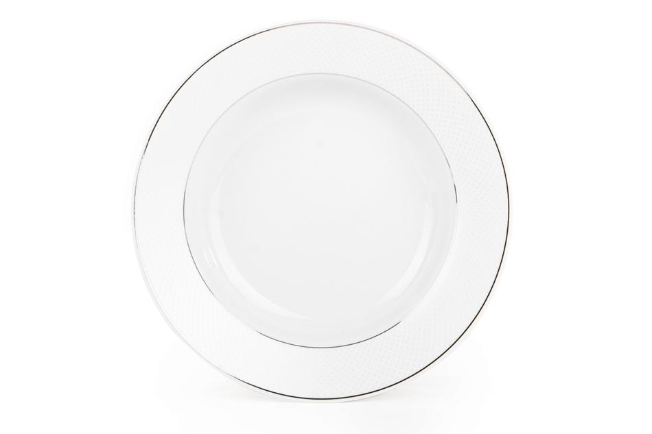 AMELIA SATYNA Zestaw obiadowy porcelana 25 elementów biały / srebrny wzór dla 6 os. Satyna - zdjęcie 11