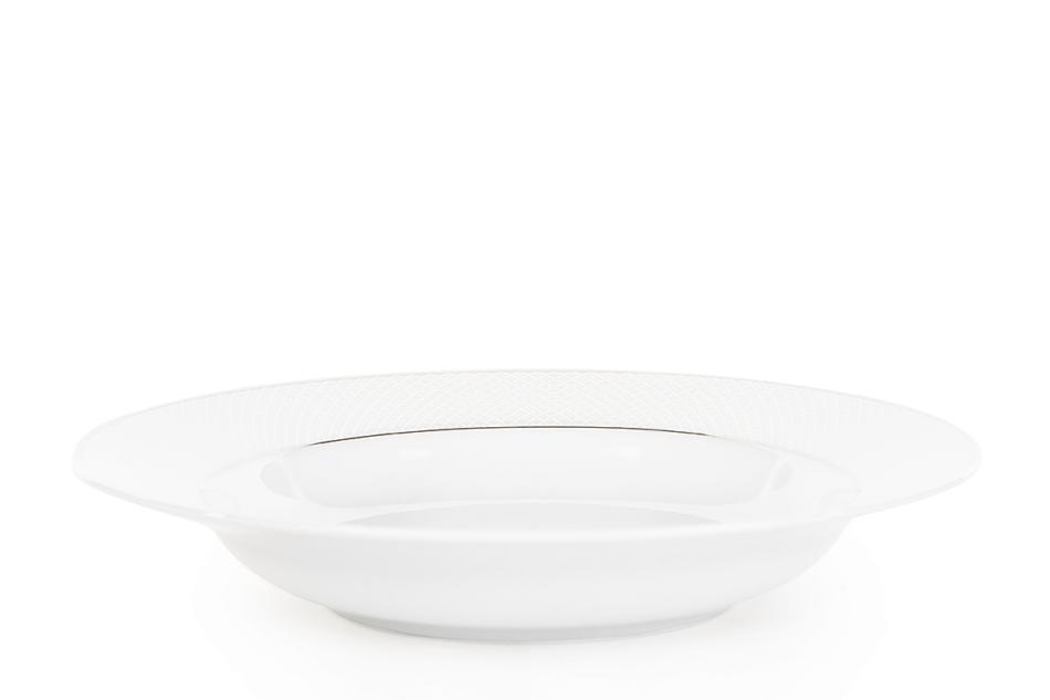 AMELIA SATYNA Zestaw obiadowy porcelana 25 elementów biały / srebrny wzór dla 6 os. Satyna - zdjęcie 10