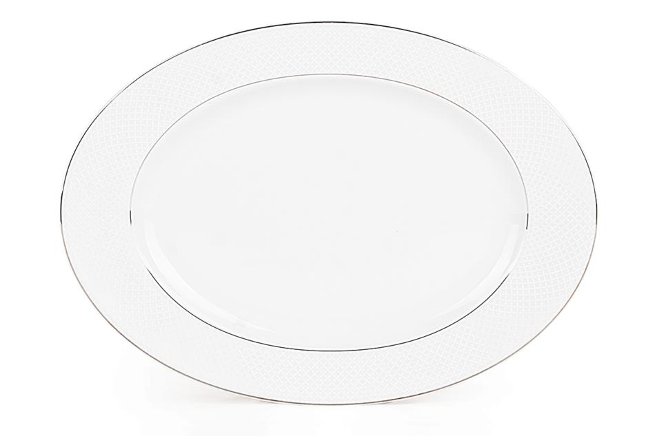 AMELIA SATYNA Zestaw obiadowy porcelana 25 elementów biały / srebrny wzór dla 6 os. Satyna - zdjęcie 12
