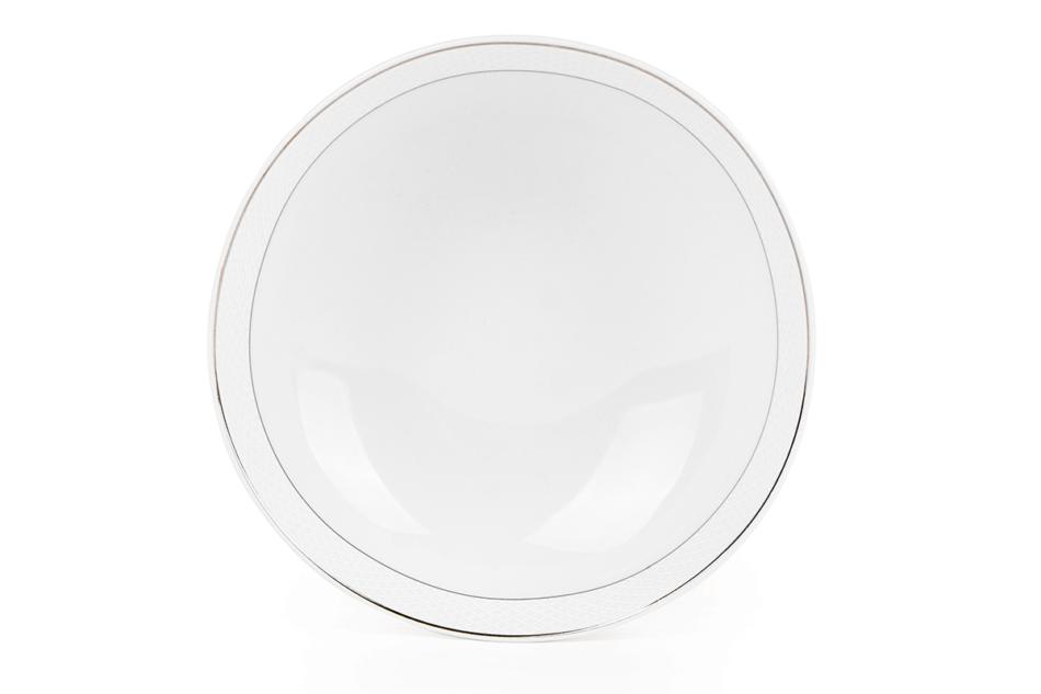 AMELIA SATYNA Zestaw obiadowy porcelana 25 elementów biały / srebrny wzór dla 6 os. Satyna - zdjęcie 15