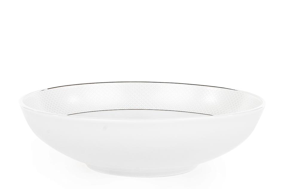 AMELIA SATYNA Zestaw obiadowy porcelana 25 elementów biały / srebrny wzór dla 6 os. Satyna - zdjęcie 13