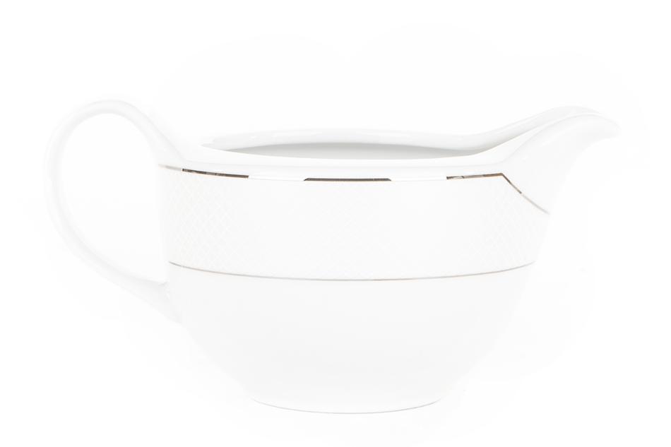 AMELIA SATYNA Zestaw obiadowy porcelana 25 elementów biały / srebrny wzór dla 6 os. Satyna - zdjęcie 18