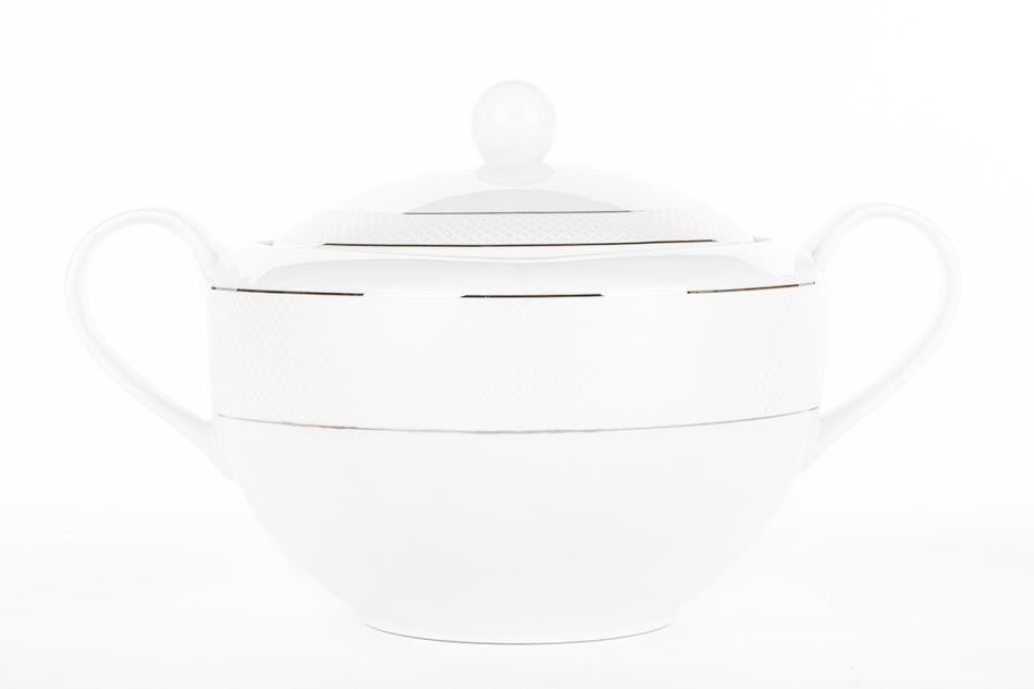 AMELIA SATYNA Zestaw obiadowy porcelana 25 elementów biały / srebrny wzór dla 6 os. Satyna - zdjęcie 16