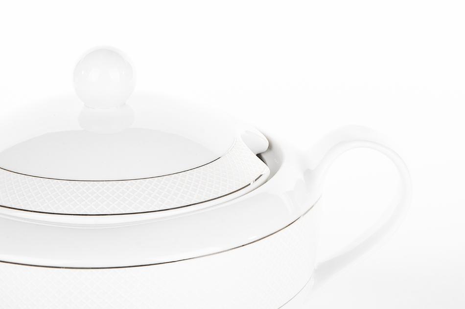 AMELIA SATYNA Zestaw obiadowy porcelana 25 elementów biały / srebrny wzór dla 6 os. Satyna - zdjęcie 17