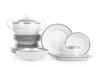 AMELIA PLATYNA Zestaw obiadowy porcelana 25 elementów biały / platynowy wzór dla 6 os. Platyna - zdjęcie 1
