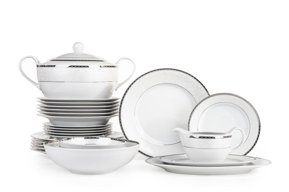 AMELIA PLATYNA Zestaw obiadowy porcelana 25 elementów biały / platynowy wzór dla 6 os. Platyna - zdjęcie 0