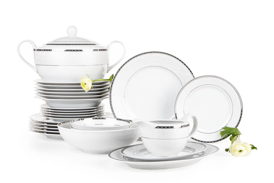 AMELIA PLATYNA Zestaw obiadowy porcelana 25 elementów biały / platynowy wzór dla 6 os. Platyna - zdjęcie 2