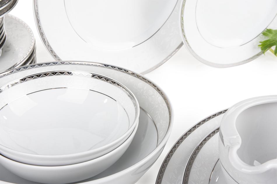 AMELIA PLATYNA Zestaw obiadowy porcelana 25 elementów biały / platynowy wzór dla 6 os. Platyna - zdjęcie 3