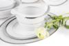 AMELIA PLATYNA Zestaw obiadowy porcelana 25 elementów biały / platynowy wzór dla 6 os. Platyna - zdjęcie 5