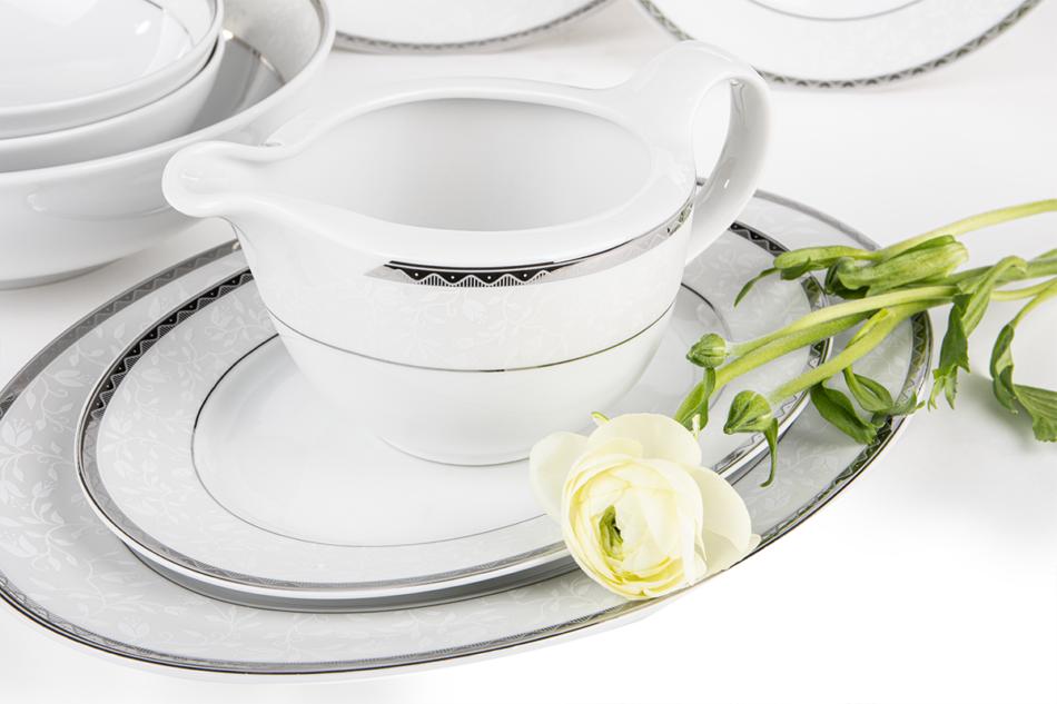 AMELIA PLATYNA Zestaw obiadowy porcelana 25 elementów biały / platynowy wzór dla 6 os. Platyna - zdjęcie 4