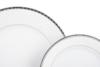 AMELIA PLATYNA Zestaw obiadowy porcelana 25 elementów biały / platynowy wzór dla 6 os. Platyna - zdjęcie 6