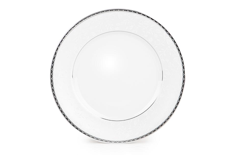 AMELIA PLATYNA Zestaw obiadowy porcelana 25 elementów biały / platynowy wzór dla 6 os. Platyna - zdjęcie 7