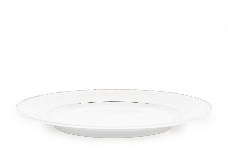 AMELIA PLATYNA Zestaw obiadowy porcelana 25 elementów biały / platynowy wzór dla 6 os. Platyna - zdjęcie 8