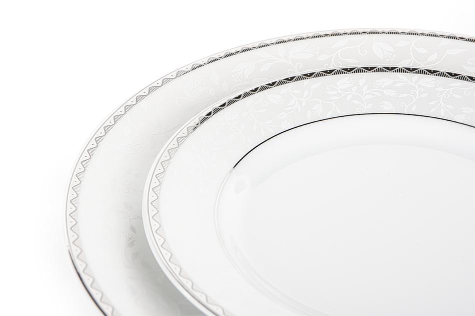AMELIA PLATYNA Zestaw obiadowy porcelana 25 elementów biały / platynowy wzór dla 6 os. Platyna - zdjęcie 10