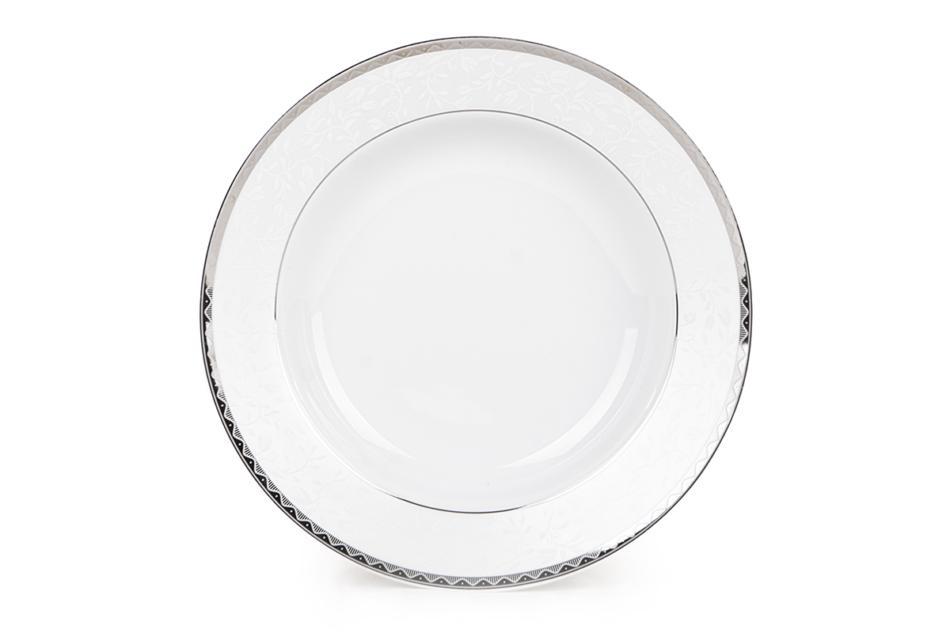 AMELIA PLATYNA Zestaw obiadowy porcelana 25 elementów biały / platynowy wzór dla 6 os. Platyna - zdjęcie 9