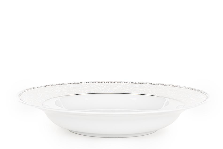 AMELIA PLATYNA Zestaw obiadowy porcelana 25 elementów biały / platynowy wzór dla 6 os. Platyna - zdjęcie 12