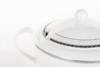AMELIA PLATYNA Zestaw obiadowy porcelana 25 elementów biały / platynowy wzór dla 6 os. Platyna - zdjęcie 14