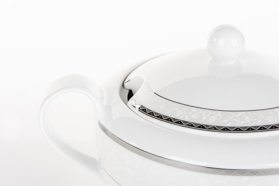 AMELIA PLATYNA Zestaw obiadowy porcelana 25 elementów biały / platynowy wzór dla 6 os. Platyna - zdjęcie 13
