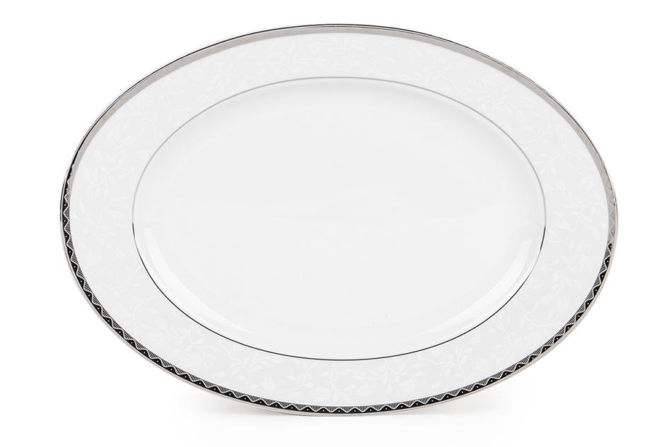AMELIA PLATYNA Zestaw obiadowy porcelana 25 elementów biały / platynowy wzór dla 6 os. Platyna - zdjęcie 16