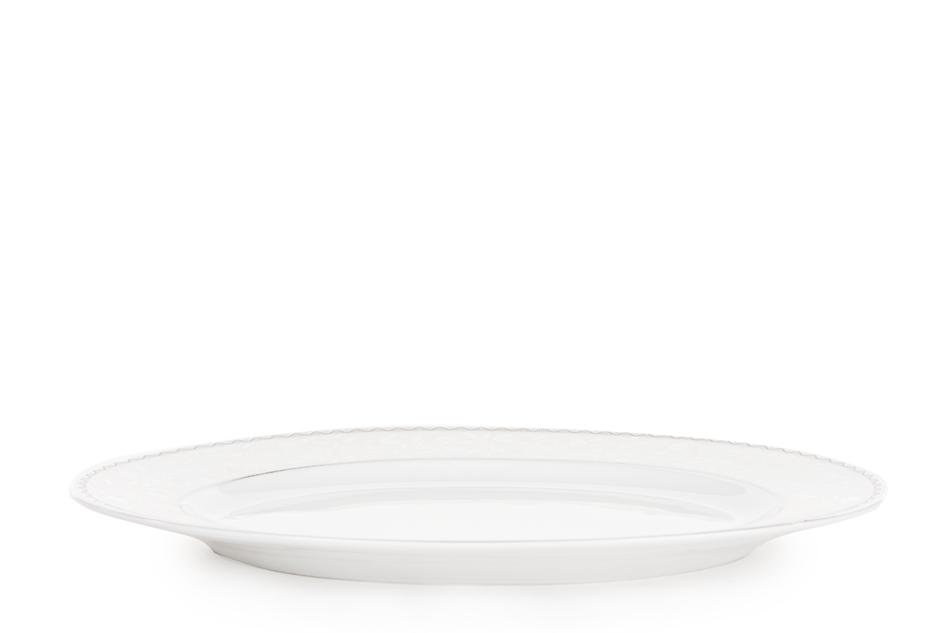 AMELIA PLATYNA Zestaw obiadowy porcelana 25 elementów biały / platynowy wzór dla 6 os. Platyna - zdjęcie 17