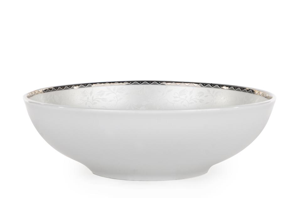 AMELIA PLATYNA Zestaw obiadowy porcelana 25 elementów biały / platynowy wzór dla 6 os. Platyna - zdjęcie 19