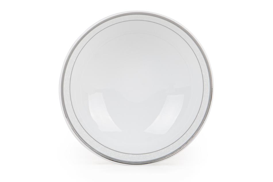 AMELIA PLATYNA Zestaw obiadowy porcelana 25 elementów biały / platynowy wzór dla 6 os. Platyna - zdjęcie 18