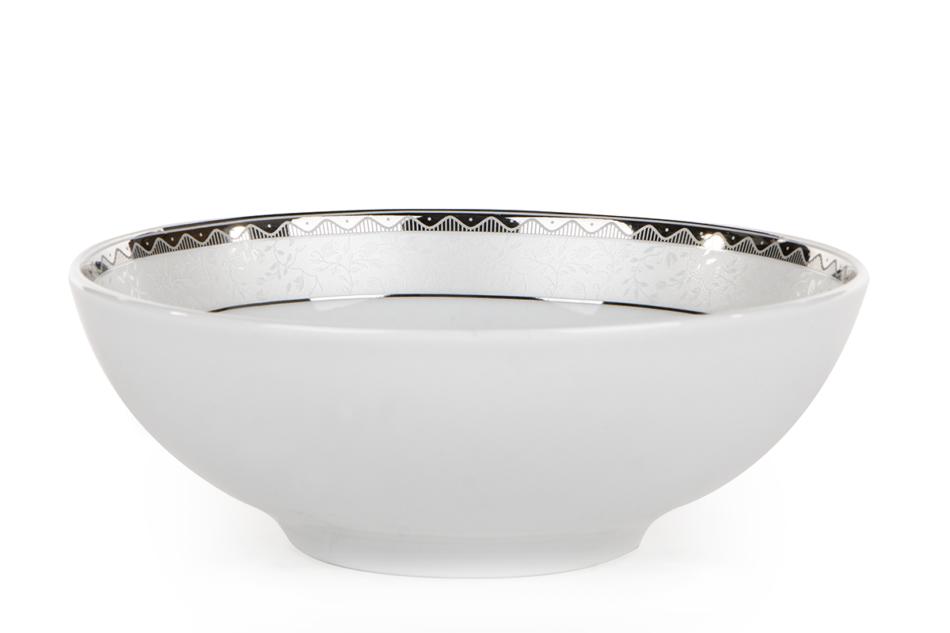 AMELIA PLATYNA Zestaw obiadowy porcelana 25 elementów biały / platynowy wzór dla 6 os. Platyna - zdjęcie 20