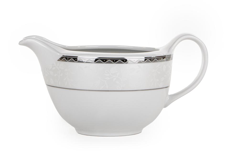 AMELIA PLATYNA Zestaw obiadowy porcelana 25 elementów biały / platynowy wzór dla 6 os. Platyna - zdjęcie 22