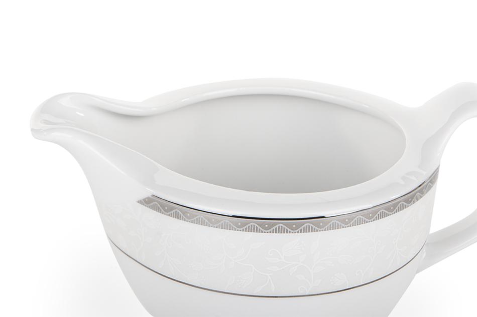 AMELIA PLATYNA Zestaw obiadowy porcelana 25 elementów biały / platynowy wzór dla 6 os. Platyna - zdjęcie 21