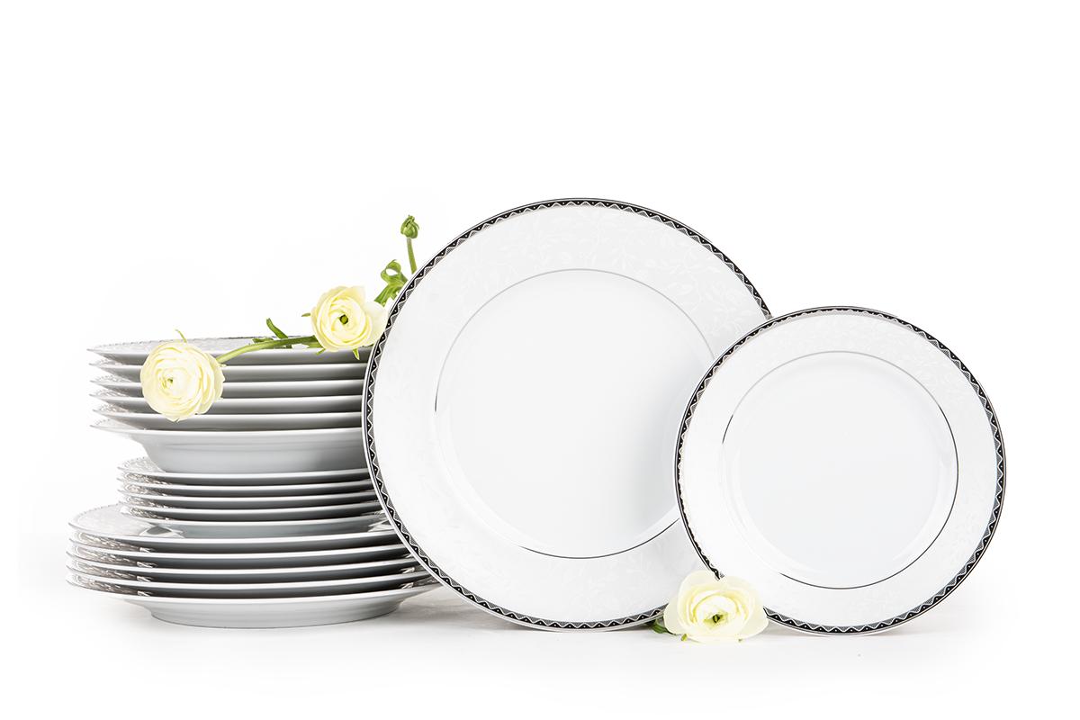 Zestaw obiadowy porcelana 18 elementów biały / platynowy wzór dla 6 os.