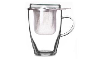 TEA 4 ONE, https://konsimo.pl/kolekcja/tea-4-one/ Szklanka z zaparzaczem przezroczysty/srebrny - zdjęcie