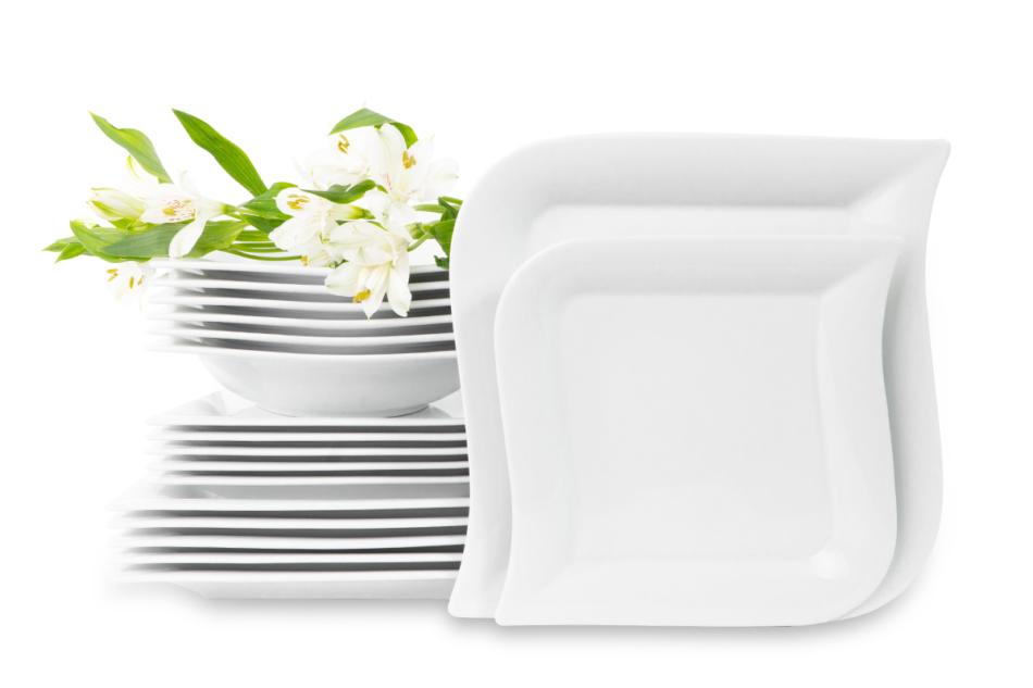 OPERA Serwis obiadowy porcelanowy polska marka biały 18 elementów na 6 osób biały biały - zdjęcie 0