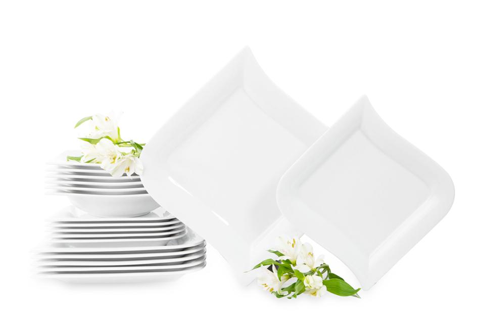 OPERA Serwis obiadowy porcelanowy polska marka biały 18 elementów na 6 osób biały biały - zdjęcie 2