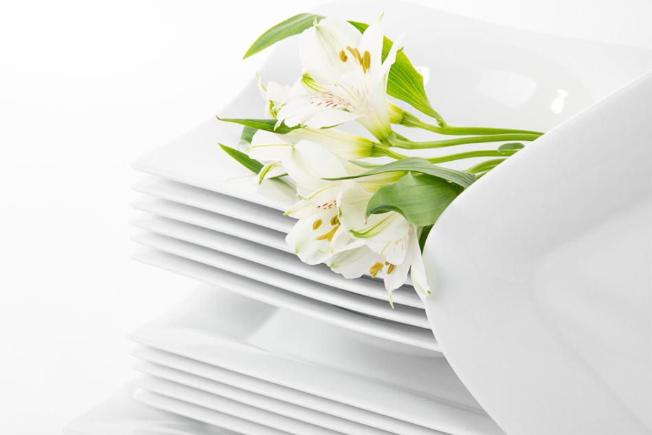 OPERA Serwis obiadowy porcelanowy polska marka biały 18 elementów na 6 osób biały biały - zdjęcie 4