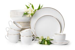 DAISY, https://konsimo.pl/kolekcja/daisy/ Zestaw obiadowo-kawowy porcelanowy 6 os. 30 elementów biały / złoty rant Złota Linia - zdjęcie