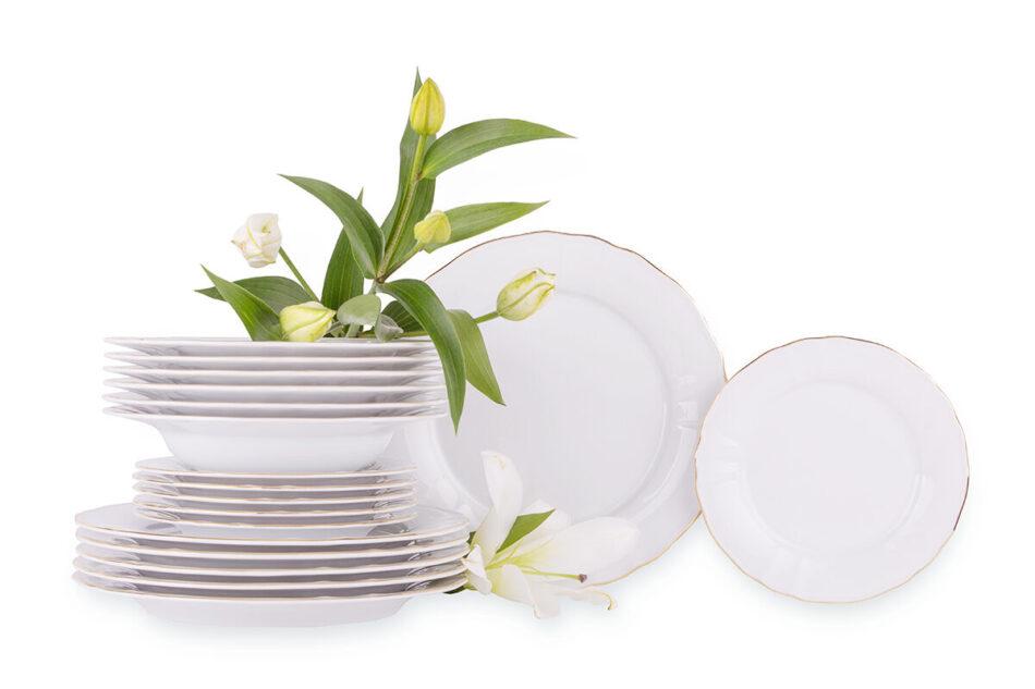 MARIA ZŁOTY PASEK Zestaw obiadowy chodzież porcelana 6 os. Biały / złoty Złoty Pasek - zdjęcie 0