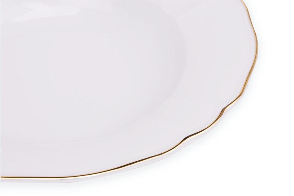 MARIA ZŁOTY PASEK Zestaw obiadowy chodzież porcelana 6 os. Biały / złoty Złoty Pasek - zdjęcie 6