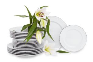 MARIA TERESA PLATYNA, https://konsimo.pl/kolekcja/maria-teresa-platyna/ Zestaw obiadowy chodzież porcelana 6 os. Biały / platyna Platyna - zdjęcie