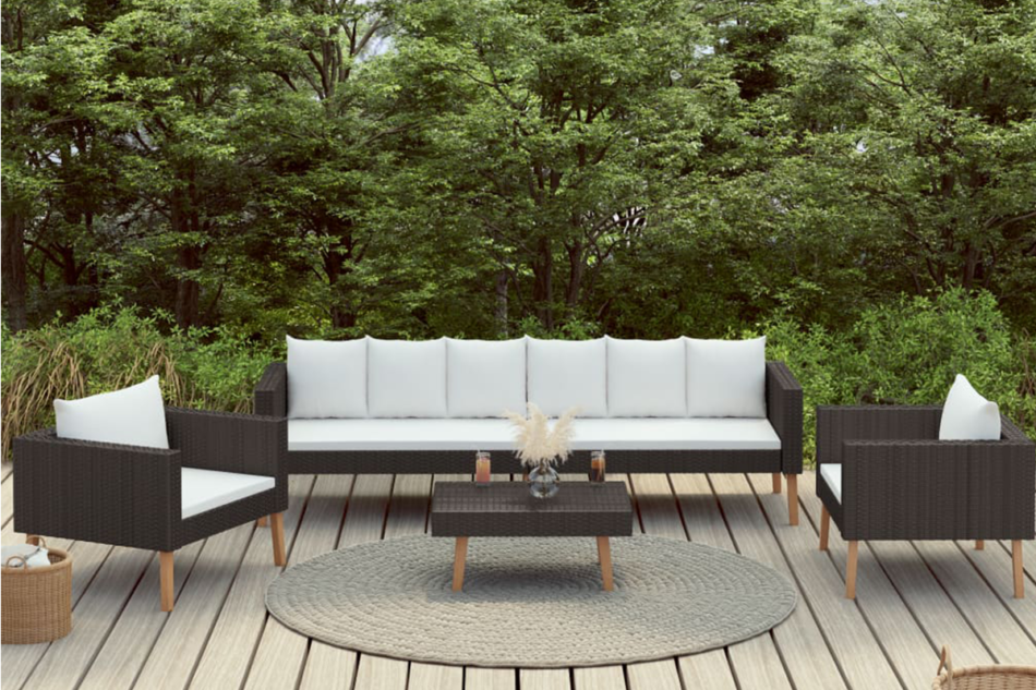 BESCO Zestaw mebli ogrodowych czarny/kremowy - zdjęcie 1