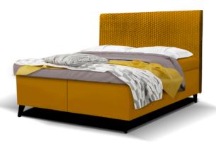 DORMIS, https://konsimo.pl/kolekcja/dormis/ Łóżko kontynentalne 140x200 welur żółte żółty - zdjęcie